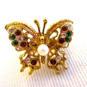 Golden Butterfly Scarf Clip Vintage Glass Gems